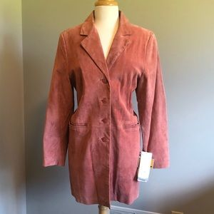 DENNIS BASSO Suede Leather Coat Trench NEW Vintage